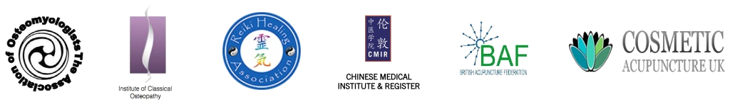 Logos for The Association of Osteomyologists and Institute of Classical Osteopathy and Reiki Healing Association and Chinese Medical Institute & Register and British Acupunture Federation and Cosmetic Acupuncture UK.